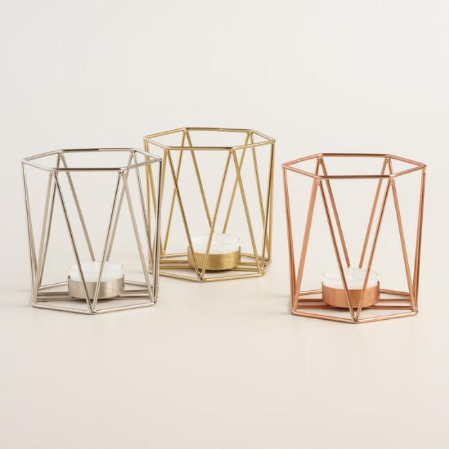Wire Geo Tealight Holders Set of 3
