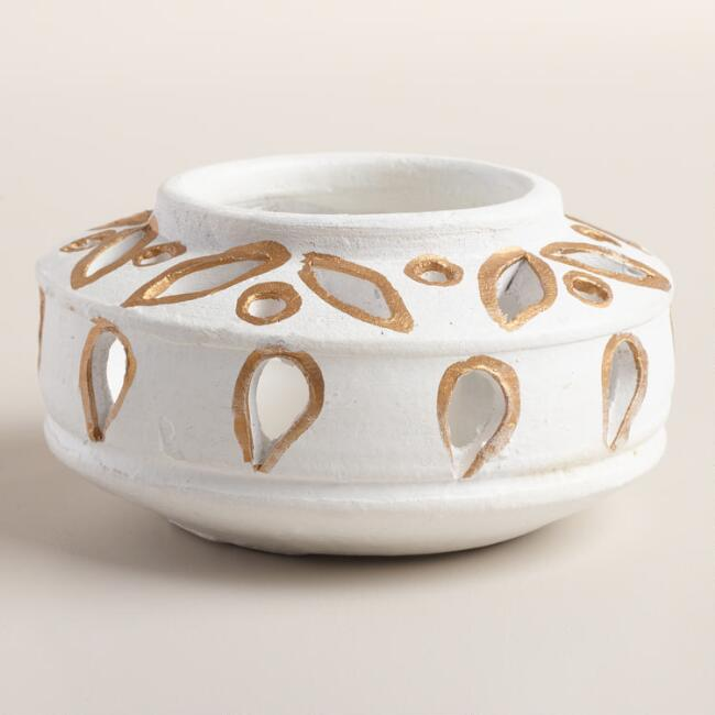 White and Gold Cutout Tealight Holder