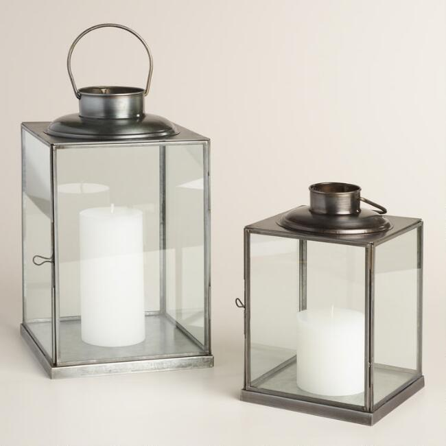 Elliot Contemporary Metal and Glass Lantern