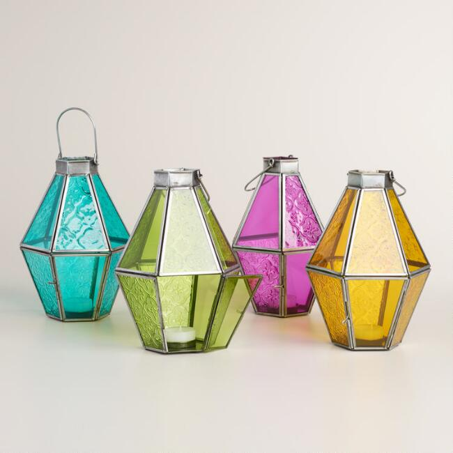 Small Colored Glass Raya Tabletop Lantern