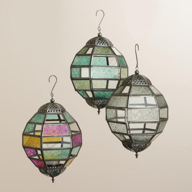 Small Multicolored Glass Hanging Ball Raya Lantern by World Market