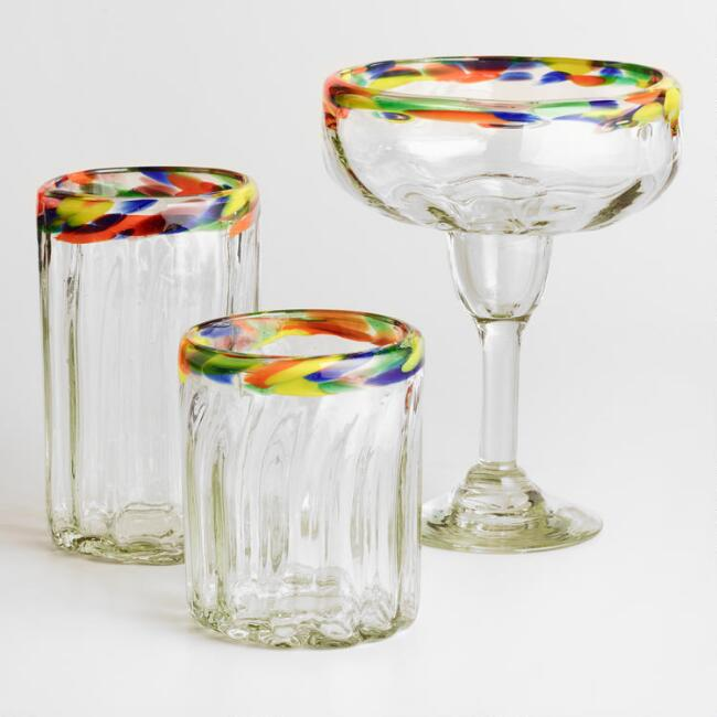 Confetti Rimmed Glassware Collection
