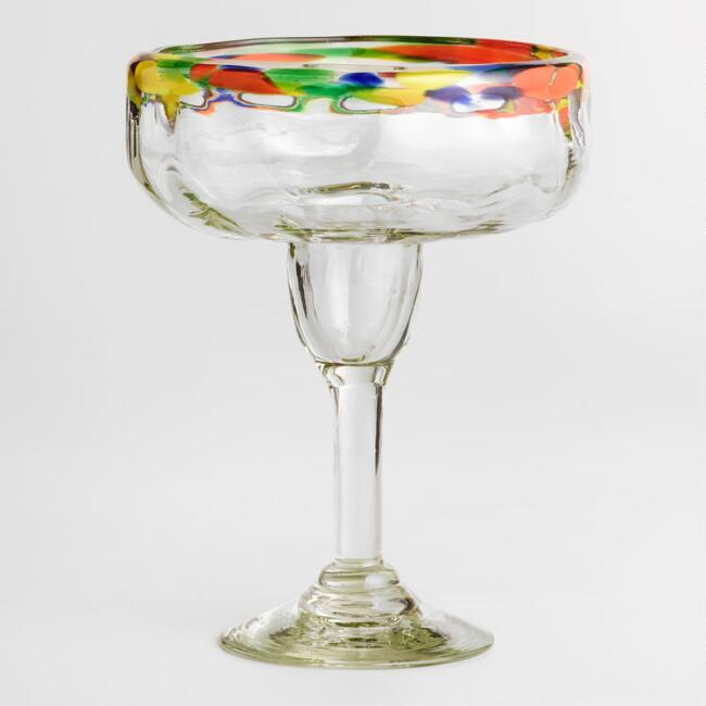 Confetti Rimmed Margarita Glasses Set of 4