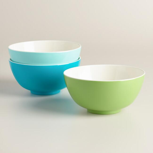 Two Tone Melamine Bowls Set of 3