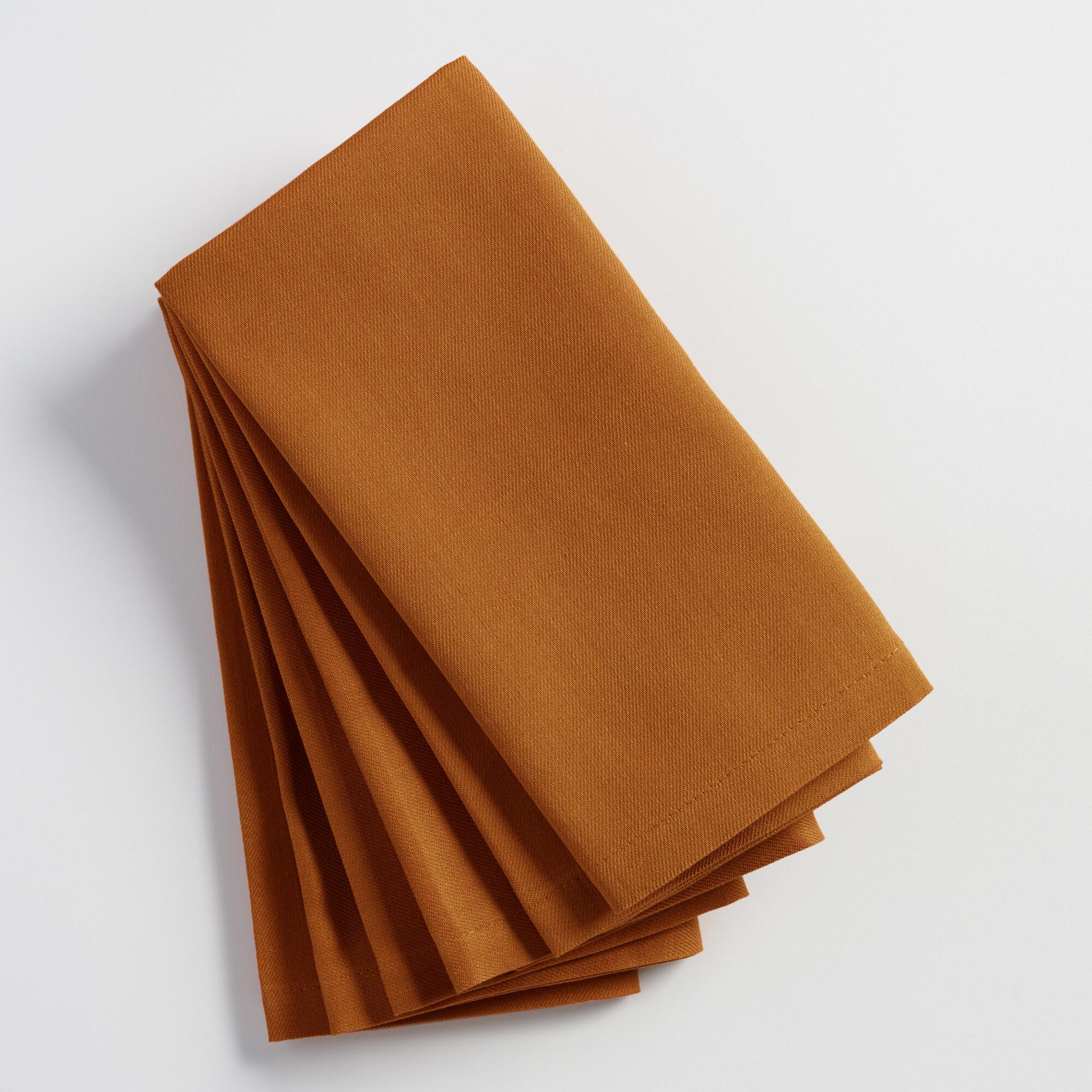 Nutmeg Brown Buffet Napkins Set of 6 - Cotton by World Market