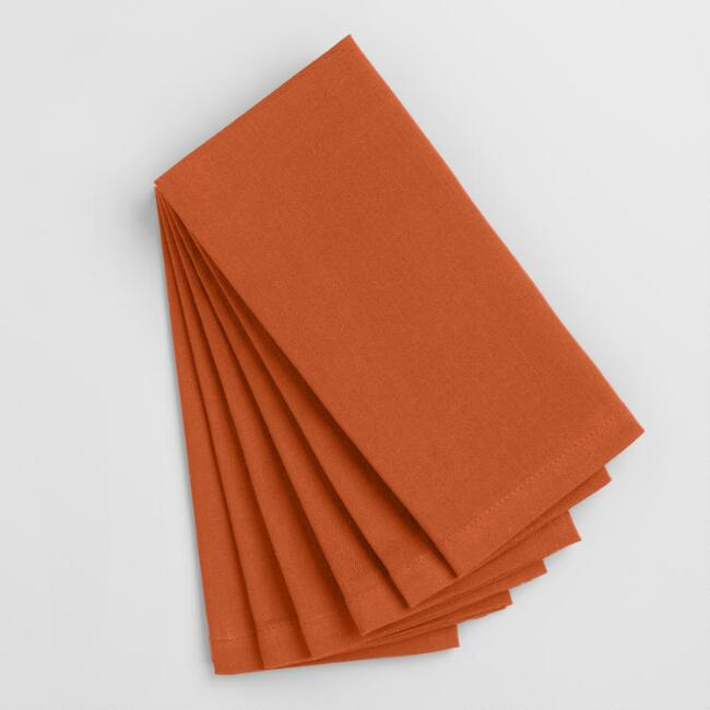 Flame Orange Buffet Napkins Set of 6