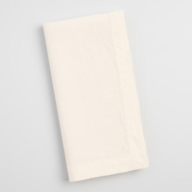 Ivory 100% Linen Napkins Set of 4