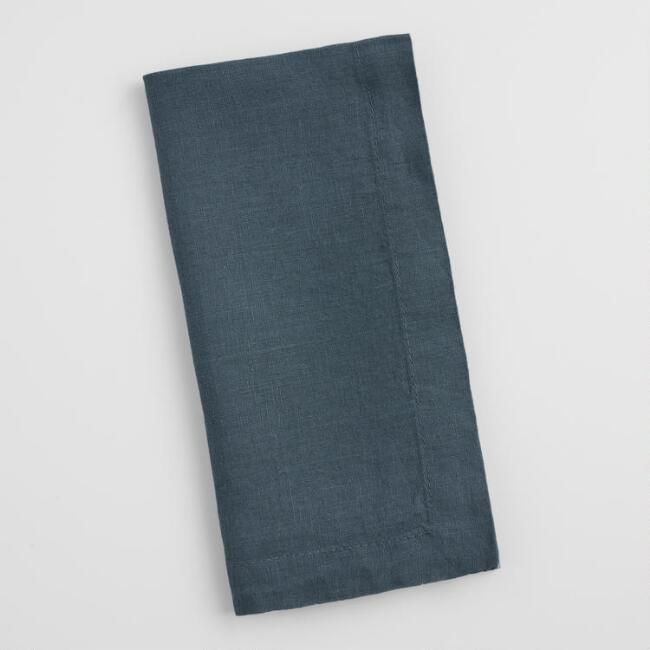 Indigo Blue 100% Linen Napkins Set of 4