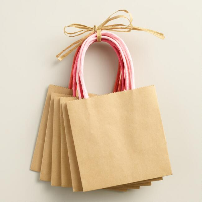 Mini Kraft Valentines Day Bags Set of 6
