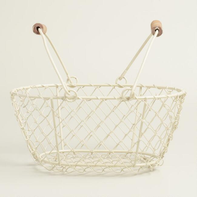 Small Cream Wire Easter Baskets Set of 2