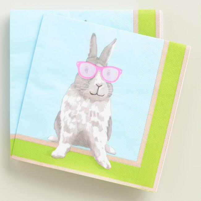 Hipster Bunny Lunch Napkins 20 Count