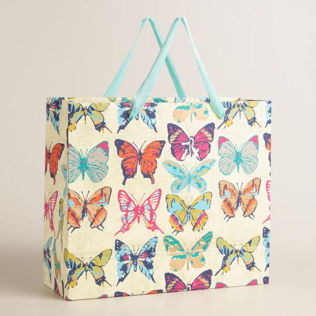 Extra Large Metallic Butterfly Handmade Gift Bag