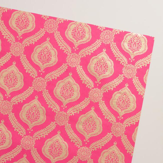 Pink Fern Medallion Handmade Wrapping Paper Rolls Set of 2