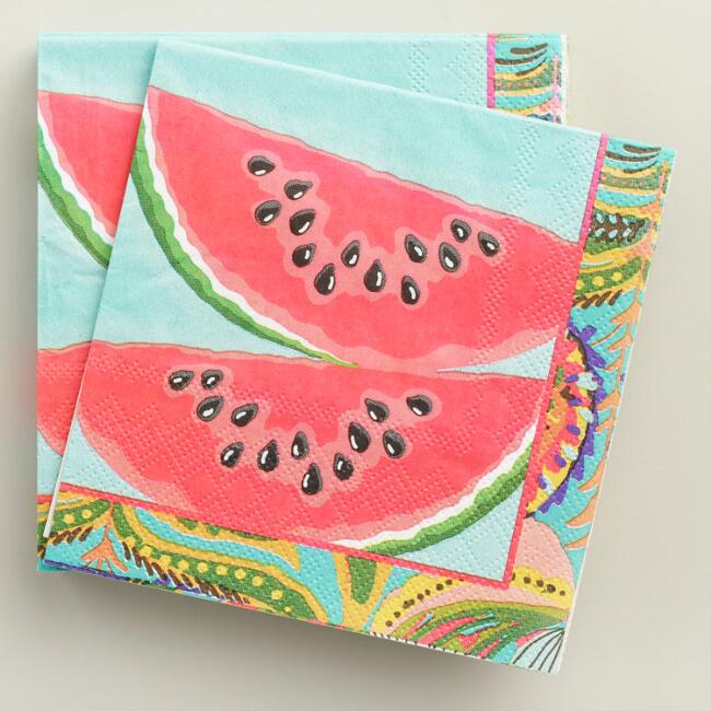 Watermelon Havana Beverage Napkins Set of 2