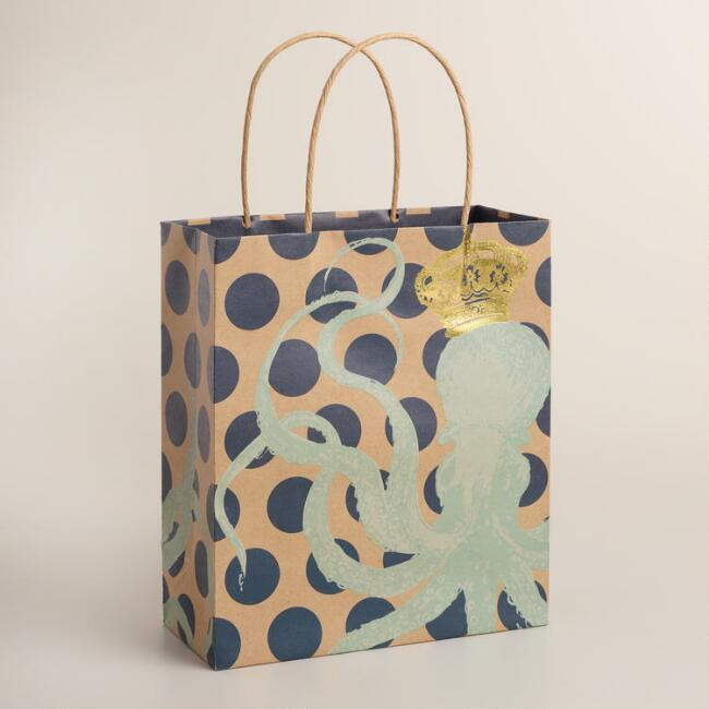 Medium Polka Dot Octopus Kraft Gift Bags Set of 2