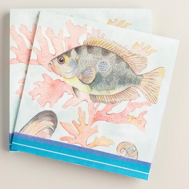 Seaside  Modern Tropical Fish Lunch Napkins 20 Count