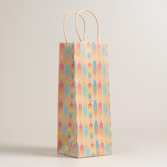 Feather Kraft Wine Bags Set of 2