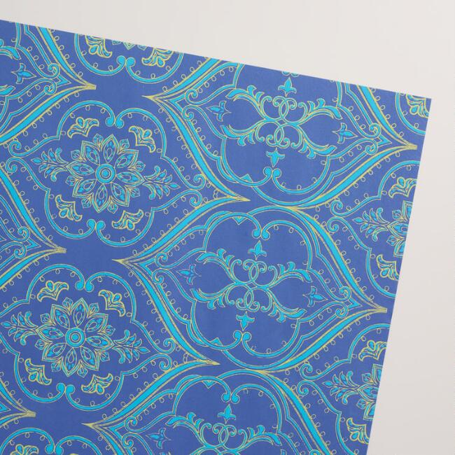 Blue Ocean Curve Handmade Wrapping Paper Rolls Set of 2