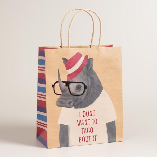 Large Hipster Rhino Kraft Gift Bags Set of 2