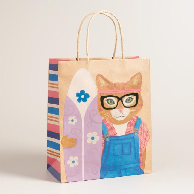 Large Hipster Kitty Kraft Gift Bags Set Of 2
