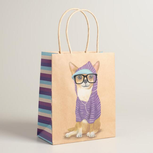 Medium Hipster Dog Kraft Gift Bags Set of 2