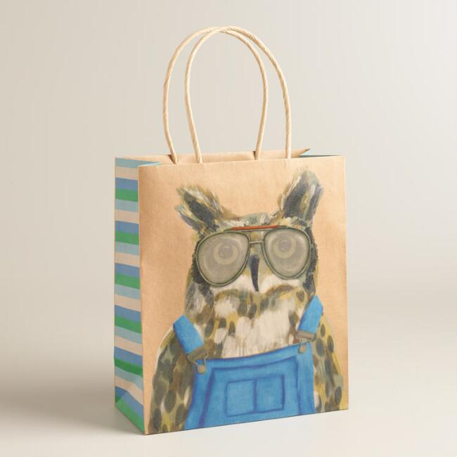 Medium Hipster Owl Kraft Gift Bags Set of 2