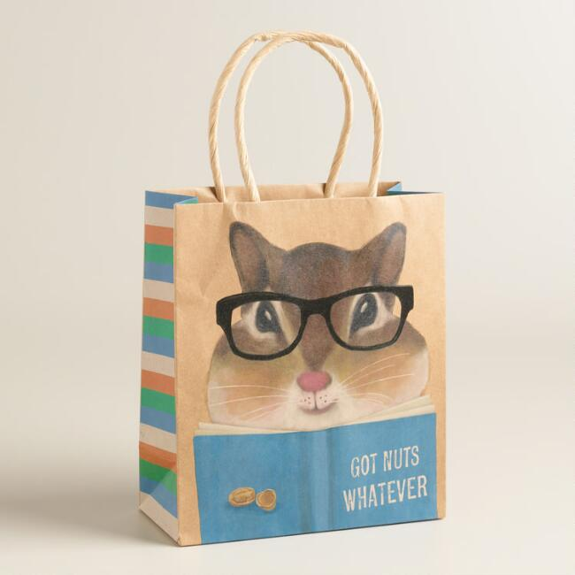 Small Hipster Chipmunk Kraft Gift Bags Set of 2