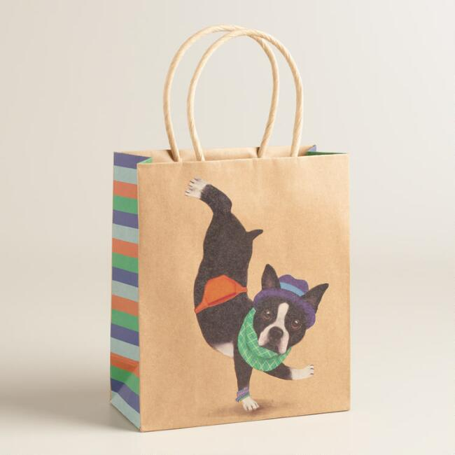 Small Hipster Terrier Kraft Gift Bags Set of 2