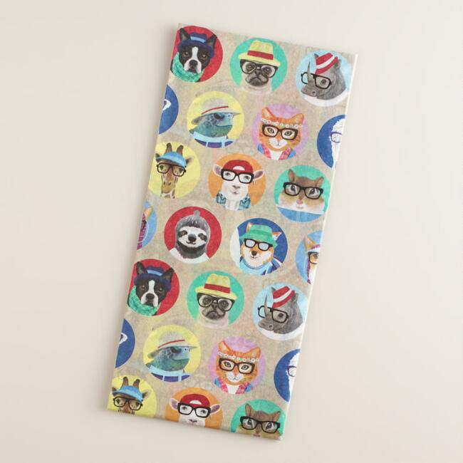 Hipster Animals Circle Tissue Paper Set of 2