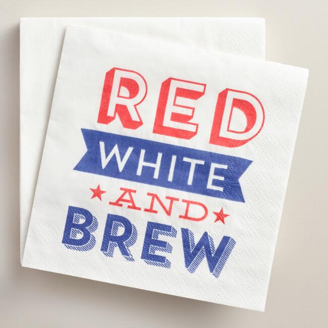 Red White and Brew Beverage Napkins 20 Count