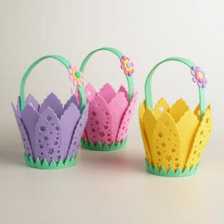 Medium Felt Flower Easter Basket