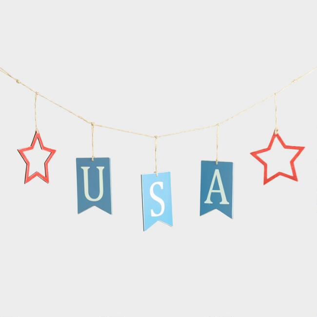 Red White and Blue Wood USA Garland