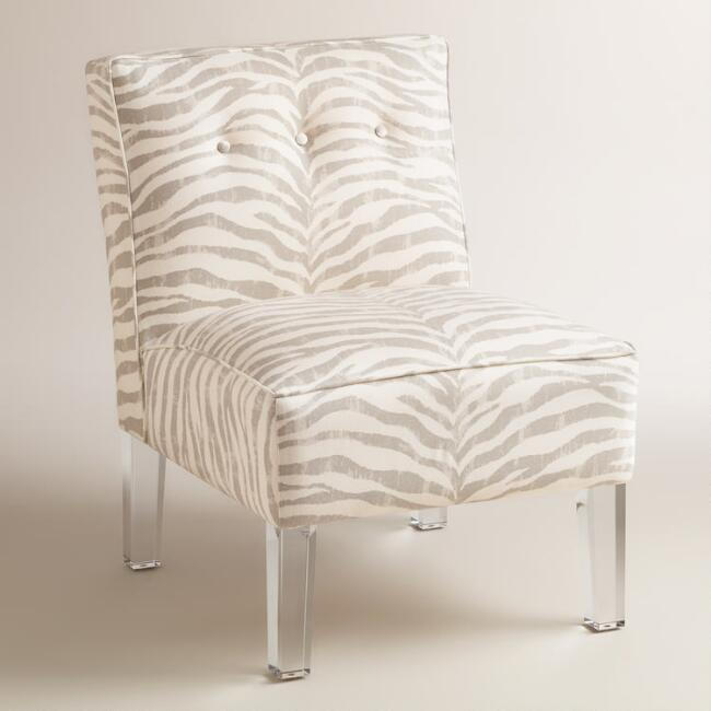 Gray Print Randen Upholstered Chair with Acrylic Legs