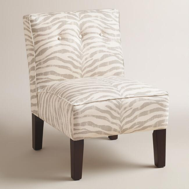Gray Print Randen Upholstered Chair with Wood Legs