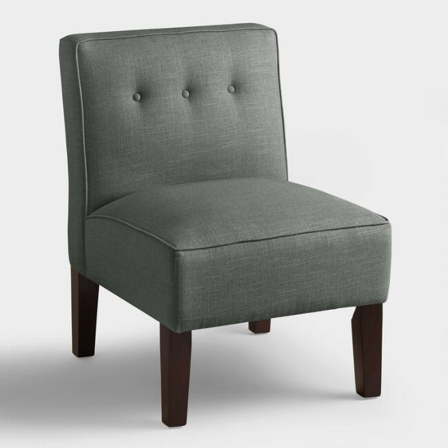 Linen Randen Upholstered Chair with Wood Legs