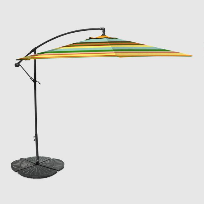 Havana Stripe 10 ft Outdoor Cantilever Umbrella and Weight Base