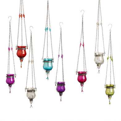 Glass Dahlia Tealight Hanging Lanterns Set of 8