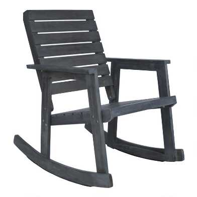 Antiqued Ash Gray Acacia Wood Outdoor Rocking Chair