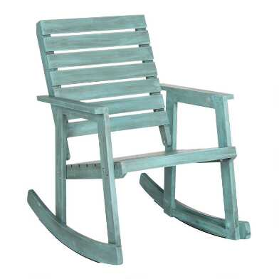 Antiqued Aqua Acacia Wood Outdoor Rocking Chair
