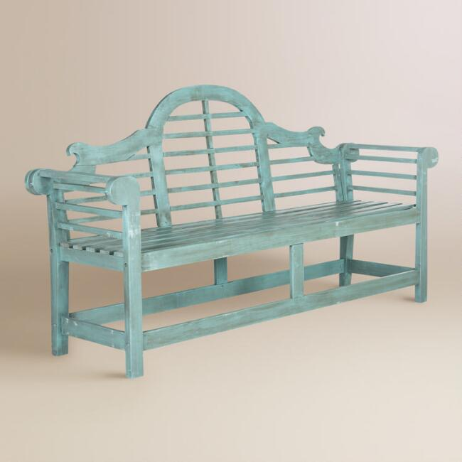 Sea Blue Wood Nerano Outdoor Bench