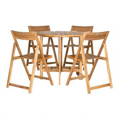 Natural Hexagon Folding Holcut 5 Piece Outdoor Dining Set