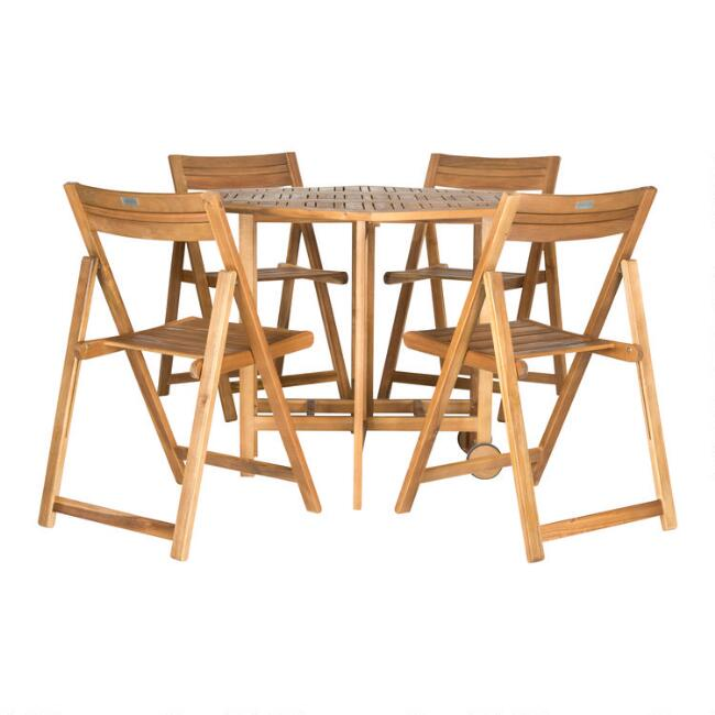 Natural Wood Holcut Square 5 Piece Outdoor Dining Set