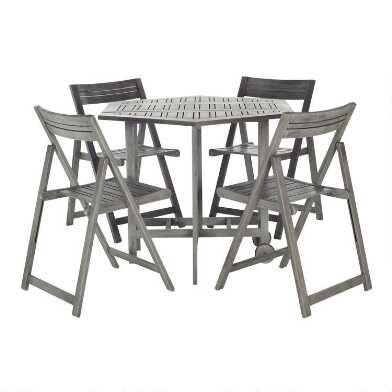 Graywash Hexagon Folding Holcut 5 Piece Outdoor Dining Set