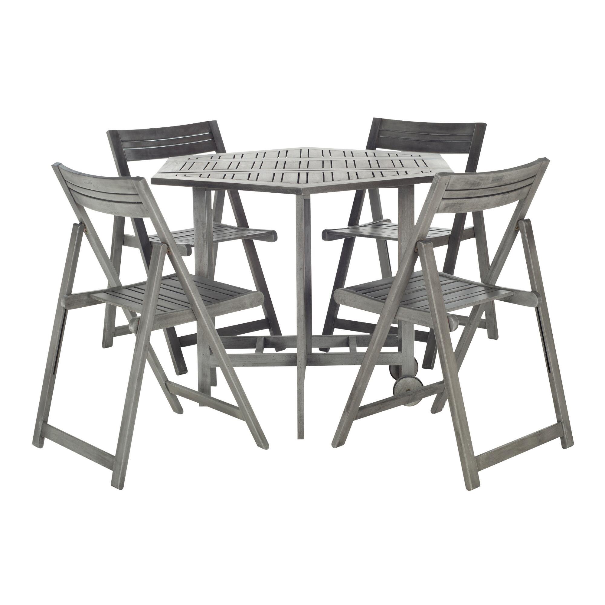 Graywash Wood Holcut Square 5 Piece Outdoor Patio Dining Set by World Market