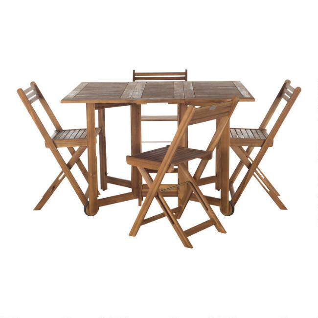 Natural Wood Holcut Rectangular 5 Piece Outdoor Dining Set