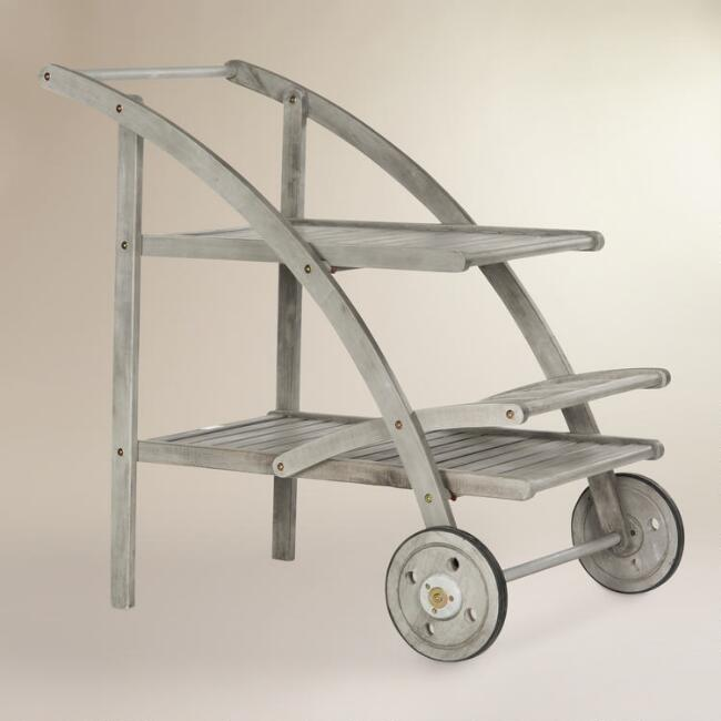 Graywash Wood Outdoor Tea Cart