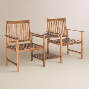 Natural Brown Wood Twin Seat Outdoor Bench. Affordable Outdoor   Patio Furniture   World Market