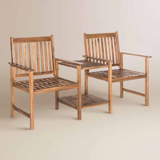 Natural Brown Wood Twin Seat Outdoor Bench