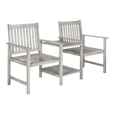 Ash Gray Acacia 2 Seater Outdoor Bench With Table