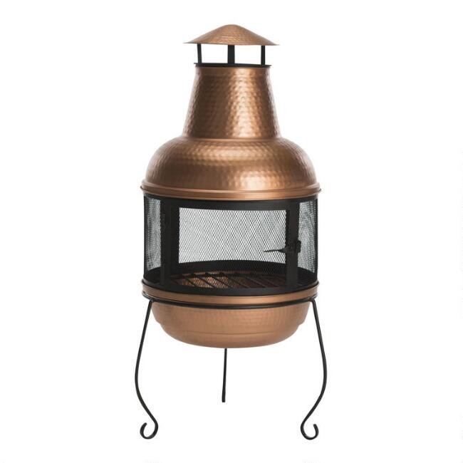 Copper Hammered Metal Chiminea